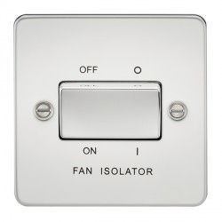Knightsbridge Flat Plate Polished Chrome 10A 3 Pole Fan Isolator Switch