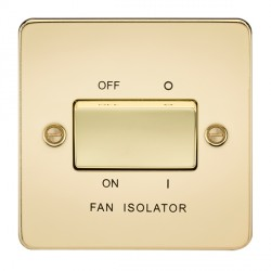 Knightsbridge Flat Plate Polished Brass 10A 3 Pole Fan Isolator Switch