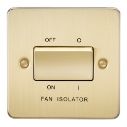 Knightsbridge Flat Plate Brushed Brass 10A 3 Pole Fan Isolator Switch