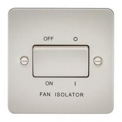 Knightsbridge Flat Plate Pearl 10A 3 Pole Fan Isolator Switch