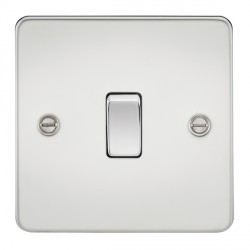 Knightsbridge Flat Plate Polished Chrome 10A 1 Gang Intermediate Switch