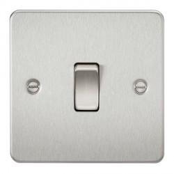 Knightsbridge Flat Plate Brushed Chrome 10A 1 Gang Intermediate Switch