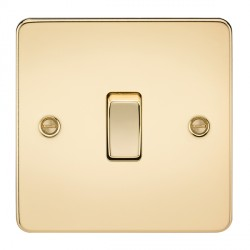 Knightsbridge Flat Plate Polished Brass 10A 1 Gang Intermediate Switch