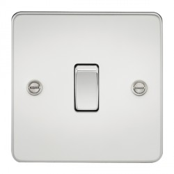 Knightsbridge Flat Plate Polished Chrome 10A 1 Gang 2 Way Switch