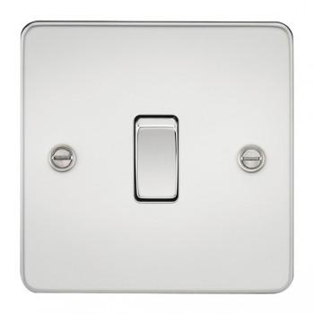 Knightsbridge Flat Plate Polished Chrome 10A 1 Gang 2 Way Switch