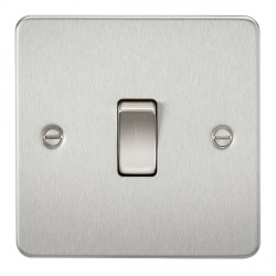 Knightsbridge Flat Plate Brushed Chrome 10A 1 Gang 2 Way Switch
