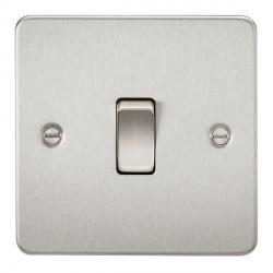 Knightsbridge Flat Plate Brushed Chrome 10A 1 Gang 2 Way Switch