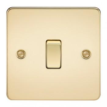 Knightsbridge Flat Plate Polished Brass 10A 1 Gang 2 Way Switch