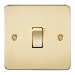 Knightsbridge Flat Plate Brushed Brass 10A 1 Gang 2 Way Switch