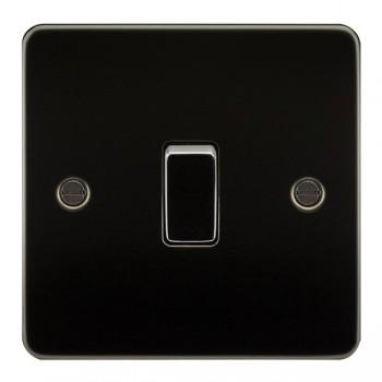 Knightsbridge Flat Plate Gunmetal 10A 1 Gang 2 Way Switch