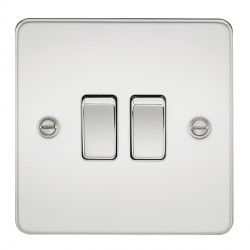 Knightsbridge Flat Plate Polished Chrome 10A 2 Gang 2 Way Switch