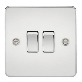 Knightsbridge Flat Plate Polished Chrome 10A 2 Gang 2 Way Switch