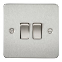 Knightsbridge Flat Plate Brushed Chrome 10A 2 Gang 2 Way Switch