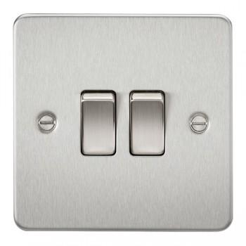 Knightsbridge Flat Plate Brushed Chrome 10A 2 Gang 2 Way Switch