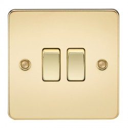 Knightsbridge Flat Plate Polished Brass 10A 2 Gang 2 Way Switch