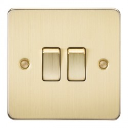 Knightsbridge Flat Plate Brushed Brass 10A 2 Gang 2 Way Switch