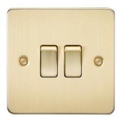 Knightsbridge Flat Plate Brushed Brass 10A 2 Gang 2 Way Switch