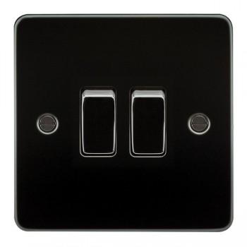 Knightsbridge Flat Plate Gunmetal 10A 2 Gang 2 Way Switch