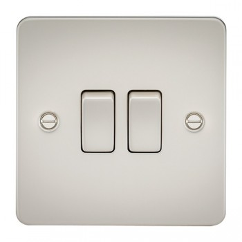 Knightsbridge Flat Plate Pearl 10A 2 Gang 2 Way Switch