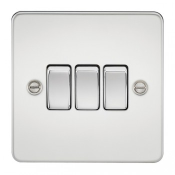 Knightsbridge Flat Plate Polished Chrome 10A 3 Gang 2 Way Switch