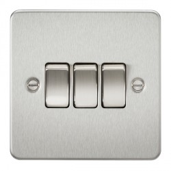 Knightsbridge Flat Plate Brushed Chrome 10A 3 Gang 2 Way Switch