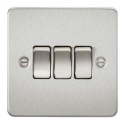 Knightsbridge Flat Plate Brushed Chrome 10A 3 Gang 2 Way Switch
