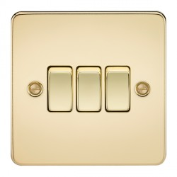 Knightsbridge Flat Plate Polished Brass 10A 3 Gang 2 Way Switch