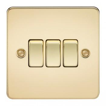 Knightsbridge Flat Plate Polished Brass 10A 3 Gang 2 Way Switch