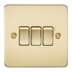Knightsbridge Flat Plate Brushed Brass 10A 3 Gang 2 Way Switch