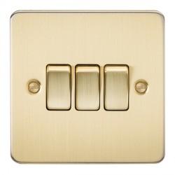 Knightsbridge Flat Plate Brushed Brass 10A 3 Gang 2 Way Switch