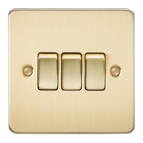 Knightsbridge Flatplate light switches /& sockets BRUSHED BRASS series range