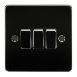 Knightsbridge Flat Plate Gunmetal 10A 3 Gang 2 Way Switch