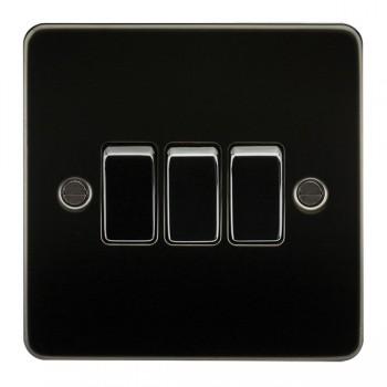 Knightsbridge Flat Plate Gunmetal 10A 3 Gang 2 Way Switch