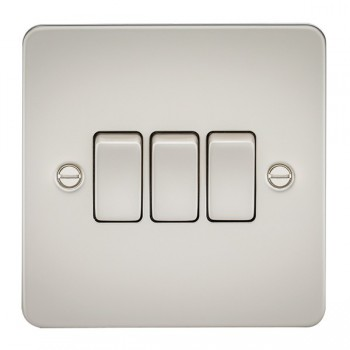Knightsbridge Flat Plate Pearl 10A 3 Gang 2 Way Switch