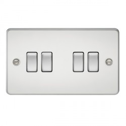 Knightsbridge Flat Plate Polished Chrome 10A 4 Gang 2 Way Switch