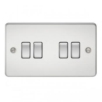 Knightsbridge Flat Plate Polished Chrome 10A 4 Gang 2 Way Switch