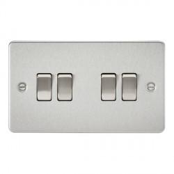 Knightsbridge Flat Plate Brushed Chrome 10A 4 Gang 2 Way Switch
