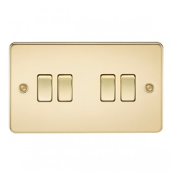 Knightsbridge Flat Plate Polished Brass 10A 4 Gang 2 Way Switch