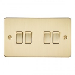 Knightsbridge Flat Plate Brushed Brass 10A 4 Gang 2 Way Switch