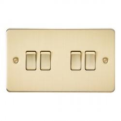 Knightsbridge Flat Plate Brushed Brass 10A 4 Gang 2 Way Switch