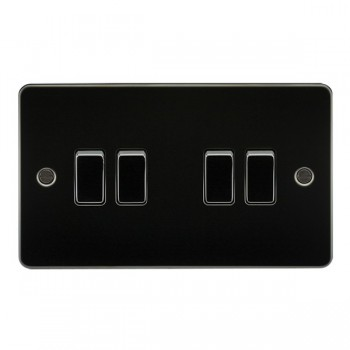 Knightsbridge Flat Plate Gunmetal 10A 4 Gang 2 Way Switch