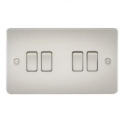 Knightsbridge Flat Plate Pearl 10A 4 Gang 2 Way Switch
