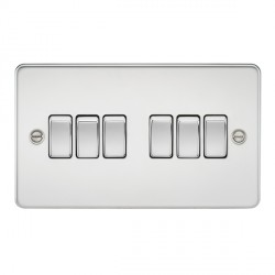 Knightsbridge Flat Plate Polished Chrome 10A 6 Gang 2 Way Switch