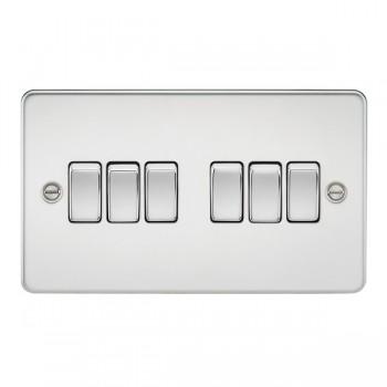 Knightsbridge Flat Plate Polished Chrome 10A 6 Gang 2 Way Switch