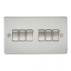 Knightsbridge Flat Plate Brushed Chrome 10A 6 Gang 2 Way Switch