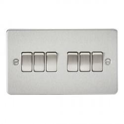 Knightsbridge Flat Plate Brushed Chrome 10A 6 Gang 2 Way Switch