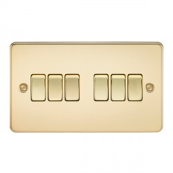 Knightsbridge Flat Plate Polished Brass 10A 6 Gang 2 Way Switch