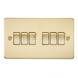 Knightsbridge Flat Plate Brushed Brass 10A 6 Gang 2 Way Switch