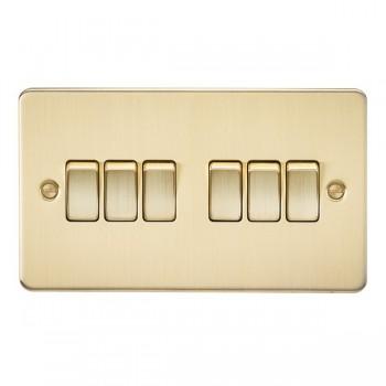 Knightsbridge Flat Plate Brushed Brass 10A 6 Gang 2 Way Switch