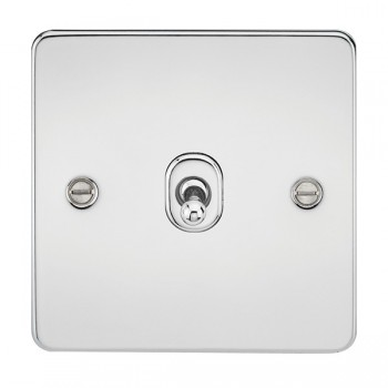 Knightsbridge Flat Plate Polished Chrome 10A 1 Gang 2 Way Toggle Switch